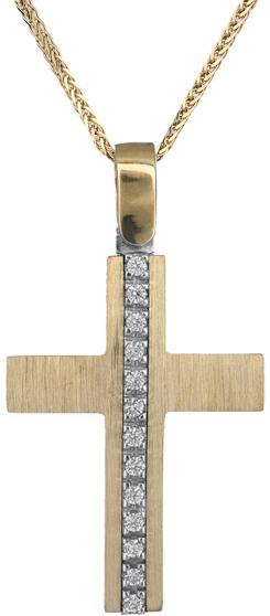 Βαπτιστικοί Σταυροί με Αλυσίδα Γυναικείος σταυρός Κ14 C018312 018312C Γυναικείο  σταυροί βάπτισης   γάμου βαπτιστικοί σταυροί με αλυσίδα