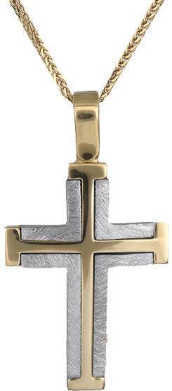 Βαπτιστικοί Σταυροί με Αλυσίδα Σταυρός για αγόρι Κ14 C018324 018324C Ανδρικό Χρυσός 14 Καράτια