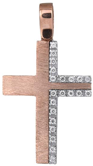 Σταυροί Βάπτισης - Αρραβώνα Ροζ gold σταυρός 14Κ 018327 018327 Γυναικείο Χρυσός 14 Καράτια
