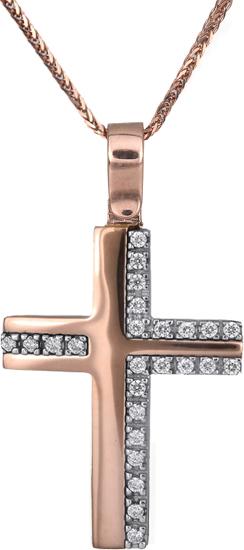 Βαπτιστικοί Σταυροί με Αλυσίδα Ροζ gold σταυρός Κ14 C018328 018328C Γυναικείο Χρυσός 14 Καράτια