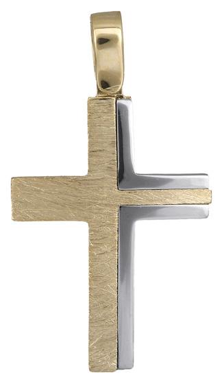 Σταυροί Βάπτισης - Αρραβώνα Δίχρωμος ανδρικός σταυρός 18Κ 019913 019913 Ανδρικό Χρυσός 18 Καράτια