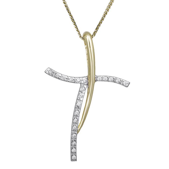 Βαπτιστικοί Σταυροί με Αλυσίδα Γυναικείος σταυρός αρραβώνα Κ14 C018336 018336C Γυναικείο Χρυσός 14 Καράτια
