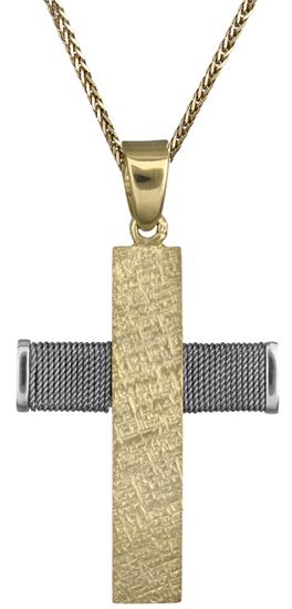 Βαπτιστικοί Σταυροί με Αλυσίδα Ανδρικός δίχρωμος σταυρός c018432 018432C Ανδρικό Χρυσός 14 Καράτια