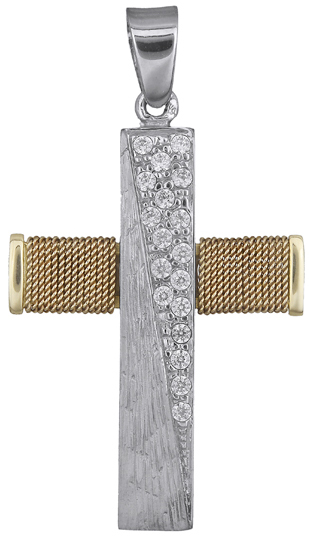 Σταυροί Βάπτισης - Αρραβώνα Γυναικείος σταυρός με ζιργκόν 14Κ 018433 018433 Γυναικείο Χρυσός 14 Καράτια