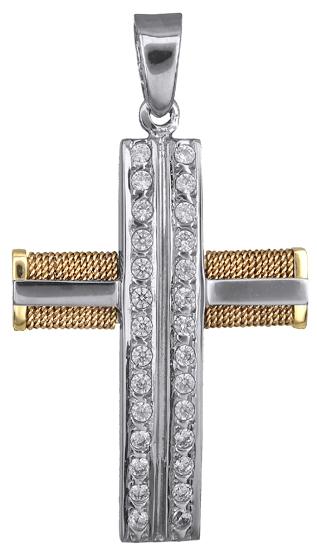 Σταυροί Βάπτισης - Αρραβώνα Γυναικείος δίχρωμος σταυρός 14Κ 018434 018434 Γυναικείο Χρυσός 14 Καράτια