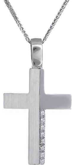 Βαπτιστικοί Σταυροί με Αλυσίδα Λευκόχρυσος σταυρός Κ18 C018536 018536C Γυναικείο Χρυσός 18 Καράτια