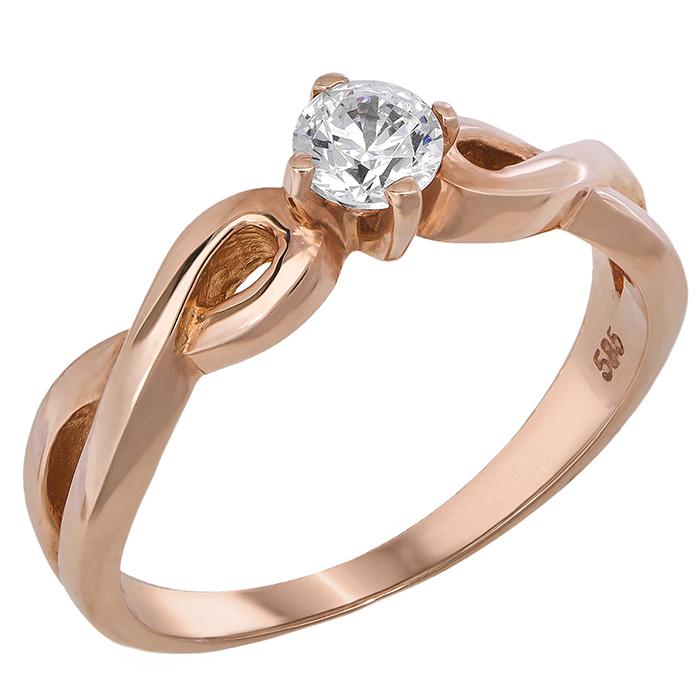 Ροζ χρυσό μονόπετρο 018524 018524 Χρυσός 14 Καράτια
