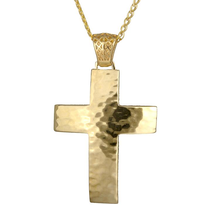 Βαπτιστικοί Σταυροί με Αλυσίδα Χρυσός ανδρικός σταυρός C018541 018541C Ανδρικό Χρυσός 14 Καράτια