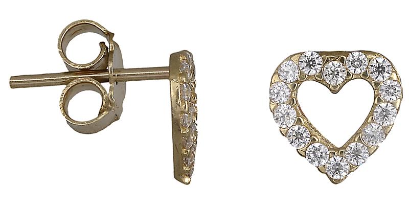 Χρυσά σκουλαρίκια καρδιά 018547 018547 Χρυσός 14 Καράτια
