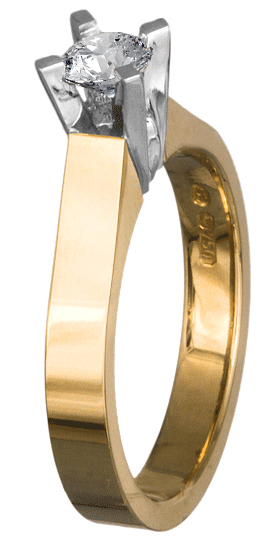 Δίχρωμο μονόπετρο Κ18 με brilliant 018599 018599 Χρυσός 18 Καράτια