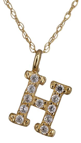 Χρυσό μονόγραμμα Η με ζιργκόν 018917 018917 Χρυσός 14 Καράτια