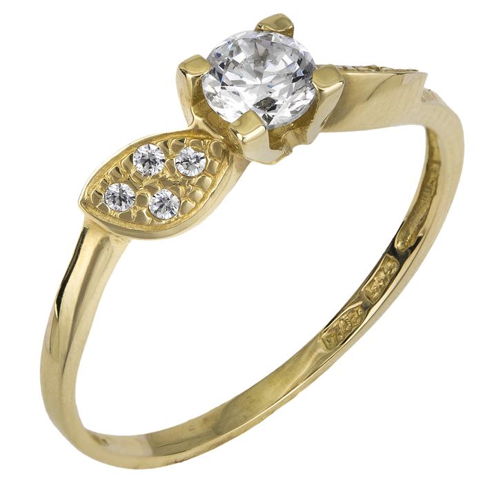 Χρυσό μονόπετρο δαχτυλίδι Κ14 018949 018949 Χρυσός 14 Καράτια