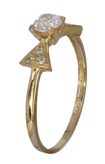Χρυσό μονόπετρο δαχτυλίδι Κ14 018950 018950 Χρυσός 14 Καράτια