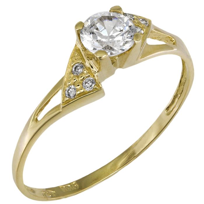 Χρυσό μονόπετρο δαχτυλίδι Κ14 018955 018955 Χρυσός 14 Καράτια