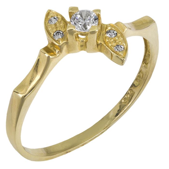 Μονόπετρο δαχτυλίδι Κ14 018962 018962 Χρυσός 14 Καράτια