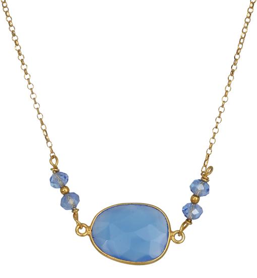 Ασημένιο κολιέ με μπλε Σεληνίτη 019033 019033 Ασήμι