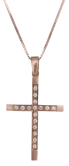 Ροζ gold σταυρός C019070 019070C Χρυσός 14 Καράτια χρυσά κοσμήματα σταυροί