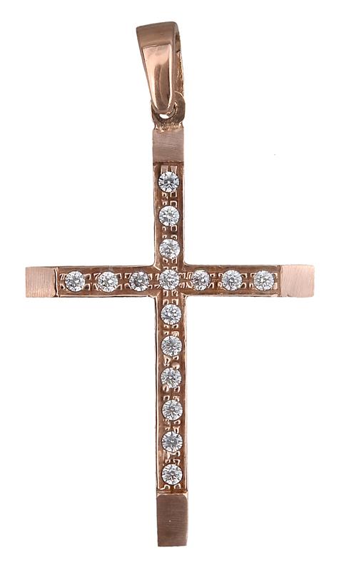 Ροζ gold γυναικείος σταυρός Κ14 019070 019070 Χρυσός 14 Καράτια