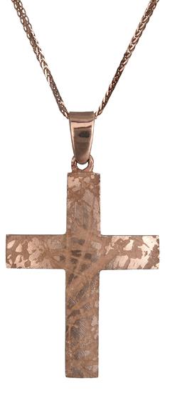 Βαπτιστικοί Σταυροί με Αλυσίδα Ροζ χρυσός σταυρός Κ14 C019080 019080C Ανδρικό Χρυσός 14 Καράτια