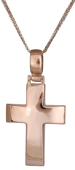 Βαπτιστικοί Σταυροί με Αλυσίδα Ροζ χρυσός σταυρός Κ14 C019082 019082C Ανδρικό Χρυσός 14 Καράτια