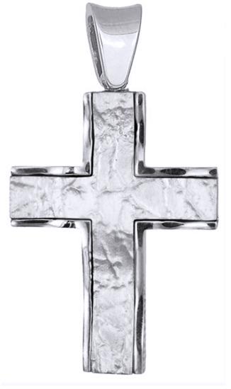 Σταυροί Βάπτισης - Αρραβώνα Λευκόχρυσος Σταυρός Κ18 017943 017943 Ανδρικό Χρυσός 18 Καράτια