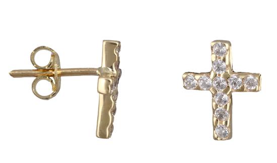 Χρυσά σκουλαρίκια σταυρός Κ14 019137 019137 Χρυσός 14 Καράτια