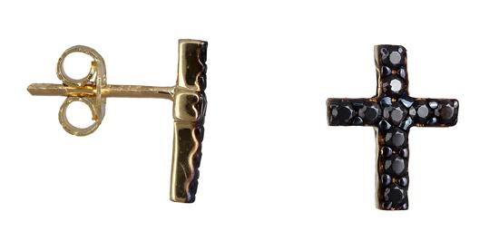 Χρυσά σκουλαρίκια σταυρός Κ14 019140 019140 Χρυσός 14 Καράτια