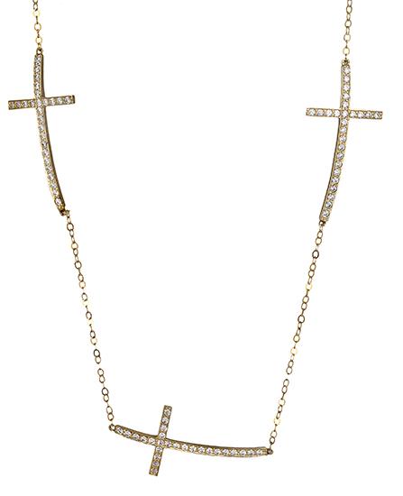 Χρυσό κολιέ με σταυρούς 019147 019147 Χρυσός 14 Καράτια