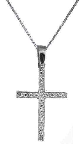 Βαπτιστικοί Σταυροί με Αλυσίδα Σταυρός με διαμάντια Κ18 C019153 019153C Γυναικείο Χρυσός 18 Καράτια