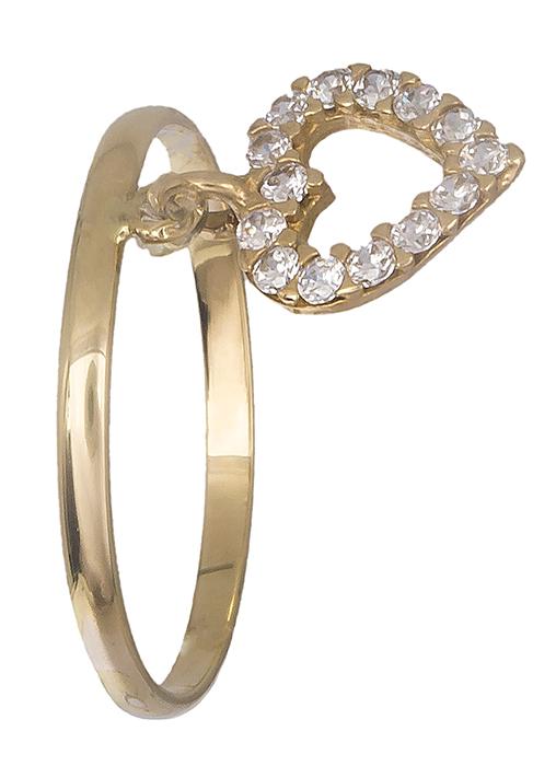 Δαχτυλίδι με πετράτη καρδούλα 14Κ 019187 019187 Χρυσός 14 Καράτια