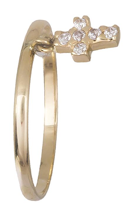 Χρυσό δαχτυλίδι με σταυρουδάκι 14Κ 019188 019188 Χρυσός 14 Καράτια
