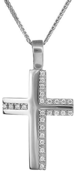 Βαπτιστικοί Σταυροί με Αλυσίδα Λευκόχρυσος σταυρός Κ14 C019216 019216C Γυναικείο Χρυσός 14 Καράτια