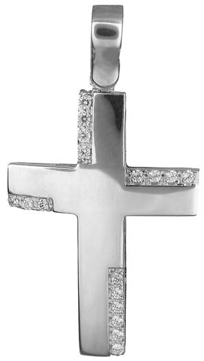 Σταυροί Βάπτισης - Αρραβώνα Γυναικείος λευκόχρυσος σταυρός 14Κ 019217 019217 Γυναικείο Χρυσός 14 Καράτια