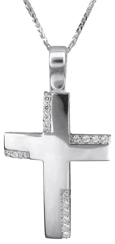 Βαπτιστικοί Σταυροί με Αλυσίδα Λευκόχρυσος σταυρός 14Κ C019217 019217C Γυναικείο Χρυσός 14 Καράτια