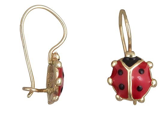 Παιδικά σκουλαρίκια πασχαλίτσα 019222 019222 Χρυσός 14 Καράτια