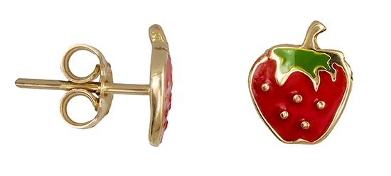 Χρυσά σκουλαρίκια Κ14 φράουλα 019223 019223 Χρυσός 14 Καράτια