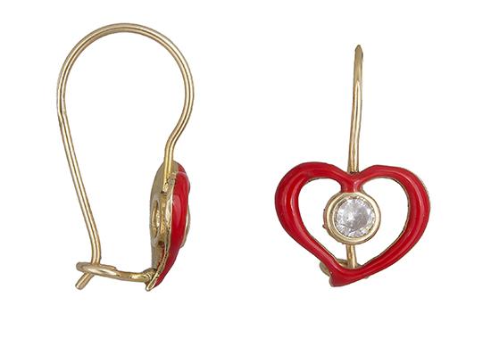 Χρυσά παιδικά σκουλαρίκια καρδιά 019231 019231 Χρυσός 14 Καράτια