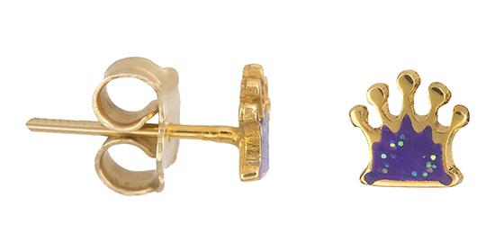Παιδικά σκουλαρίκια Κ14 κορώνα 019238 019238 Χρυσός 14 Καράτια 9f853674526