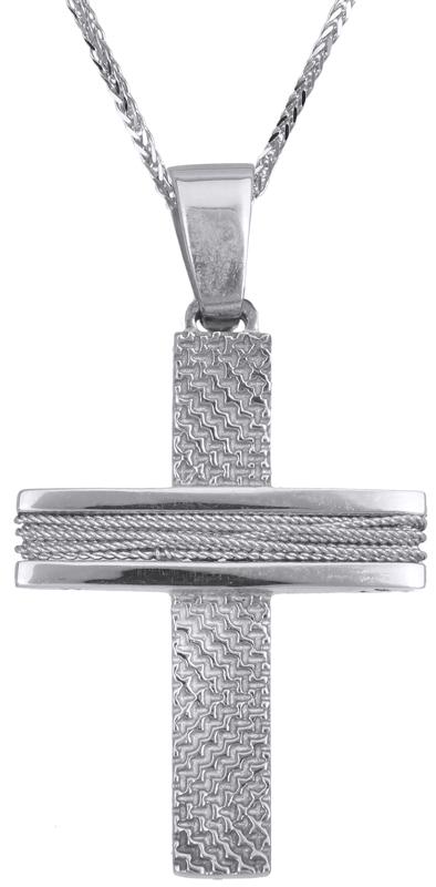 Βαπτιστικοί Σταυροί με Αλυσίδα Λευκόχρυσος αντρικός σταυρός Κ14 C019278 019278C Ανδρικό Χρυσός 14 Καράτια
