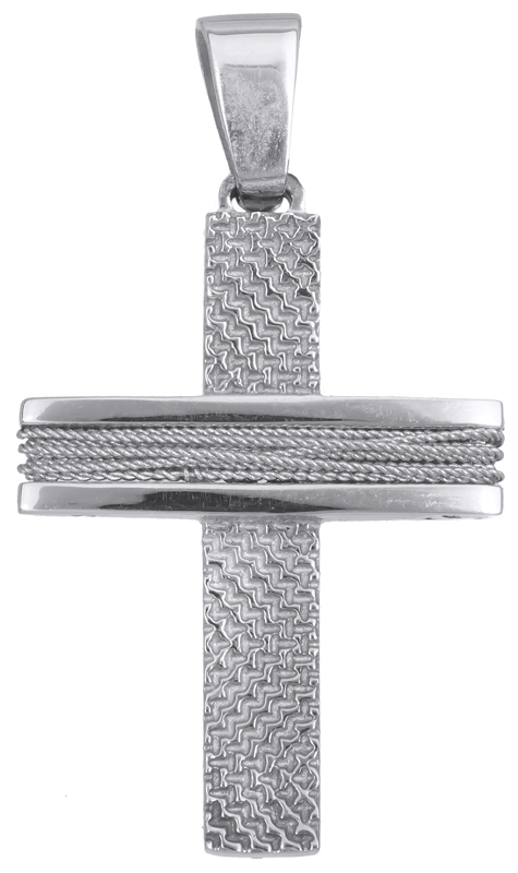 Σταυροί Βάπτισης - Αρραβώνα Λευκόχρυσος αντρικός σταυρός 14Κ 019278 019278 Ανδρικό Χρυσός 14 Καράτια