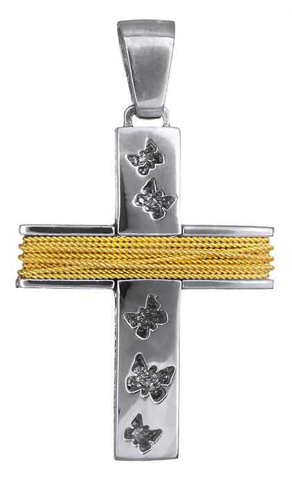 Σταυροί Βάπτισης - Αρραβώνα Δίχρωμος γυναικείος σταυρός 019279 019279 Γυναικείο Χρυσός 14 Καράτια