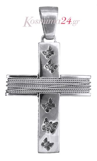 Σταυροί Βάπτισης - Αρραβώνα Βαπτιστικός σταυρός για κορίτσι 14Κ 019280 019280 Γυναικείο Χρυσός 14 Καράτια