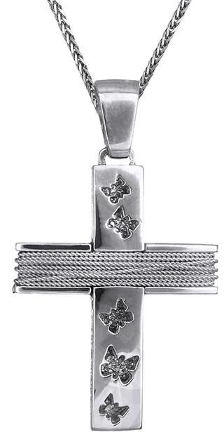 Βαπτιστικοί Σταυροί με Αλυσίδα Γυναικείος σταυρός λευκόχρυσος C019280 019280C Γυναικείο Χρυσός 14 Καράτια