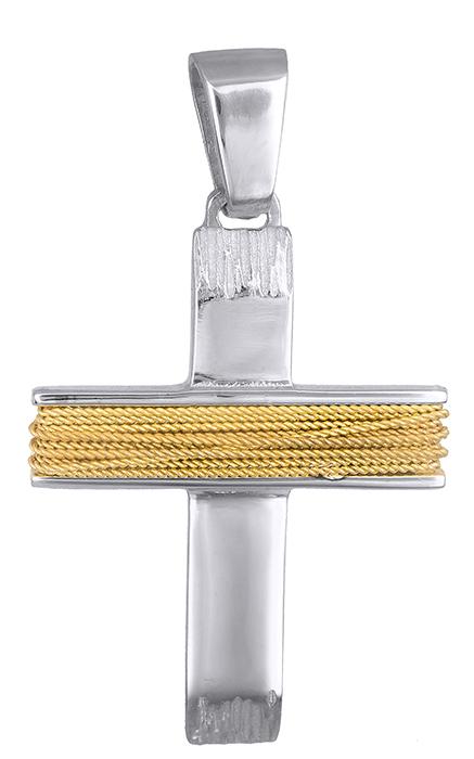 Σταυροί Βάπτισης - Αρραβώνα Δίχρωμος σταυρός για αγόρι 14Κ 019283 019283 Ανδρικό Χρυσός 14 Καράτια