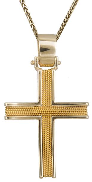 Βαπτιστικοί Σταυροί με Αλυσίδα Χρυσός σταυρός ανδρικός Κ14 C019284 019284C Ανδρικό Χρυσός 14 Καράτια