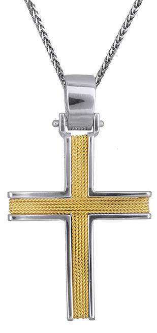 Βαπτιστικοί Σταυροί με Αλυσίδα Συρματερός σταυρός με αλυσίδα Κ14 C019285 019285C Ανδρικό Χρυσός 14 Καράτια
