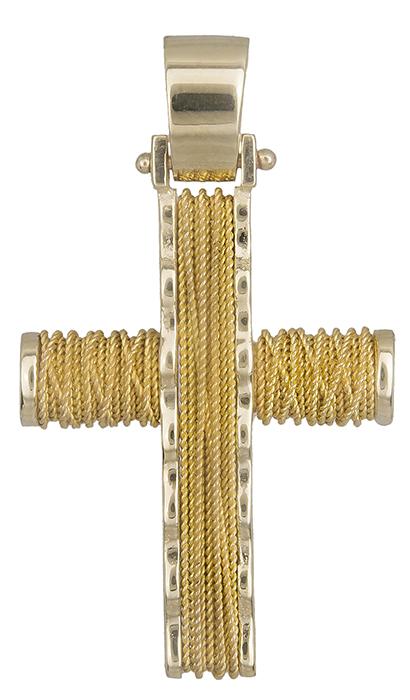 Σταυροί Βάπτισης - Αρραβώνα Χρυσός σταυρός ανδρικός με σύρμα 14Κ 019286 019286 Ανδρικό Χρυσός 14 Καράτια