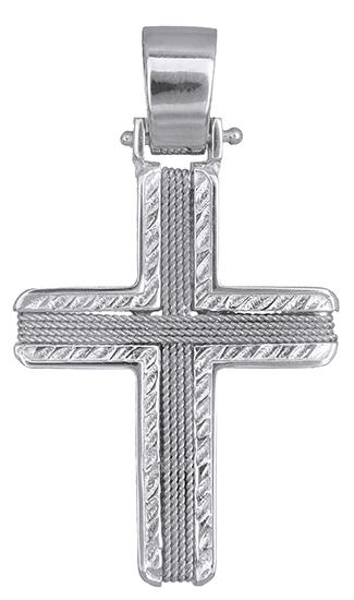 Σταυροί Βάπτισης - Αρραβώνα Λευκόχρυσος σταυρός με σύρμα Κ14 019292 019292 Ανδρικό Χρυσός 14 Καράτια