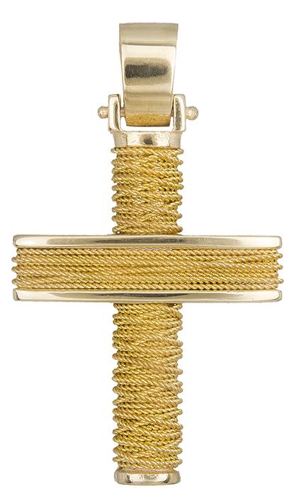 Σταυροί Βάπτισης - Αρραβώνα Βαπτιστικός σταυρός χρυσός για αγόρι Κ14 019293 019293 Ανδρικό Χρυσός 14 Καράτια