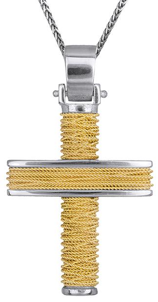 Βαπτιστικοί Σταυροί με Αλυσίδα Δίχρωμος αντρικός σταυρός 14Κ C019295 019295C Ανδρικό Χρυσός 14 Καράτια